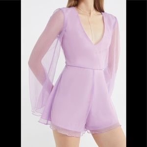 Urban Outfitters Plunging Long Sleeve Romper